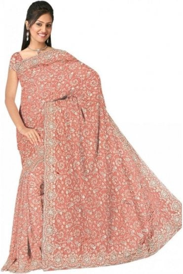 DSS20516 Peach and Sliver Faux Silk Saree