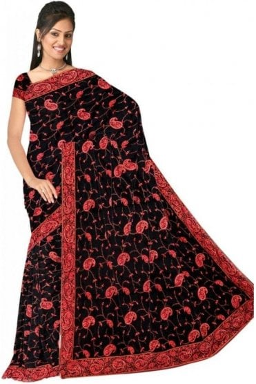 DSS20517 Black and Pink Faux Satin Silk Saree