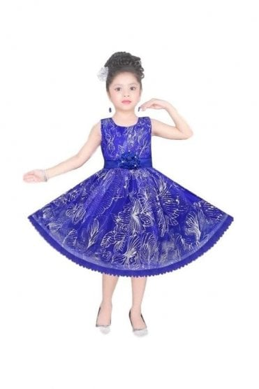 GPF20521 Fancy Blue and Siliver Girl's Party Dress