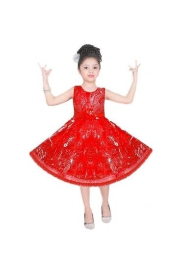 GPF20522 Exclusive Red and Siliver Girl's Party Dress