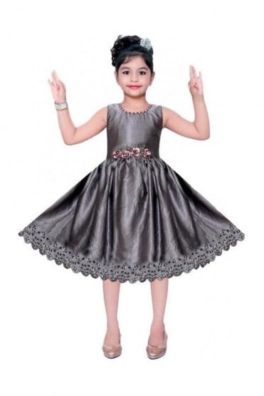 GPF20509 Voguish Grey and Gold Girl's Party Dress