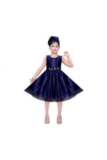 GPF20510 Elegant Blue and Gold Girl's Party Dress