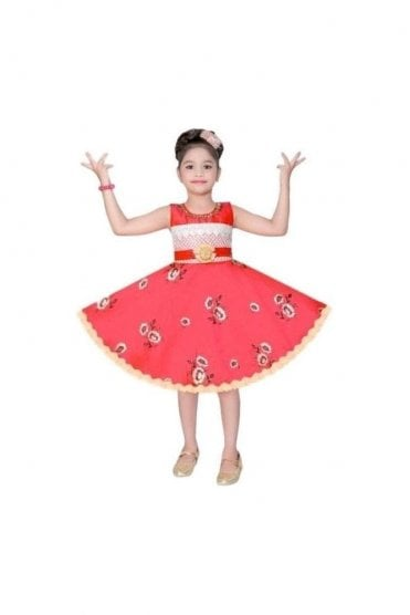GPF20512 Floral Pink and Gold Girl's Party Dress