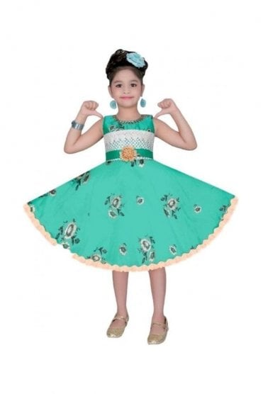 GPF20513 Floral Green and Gold Girl's Party Dress