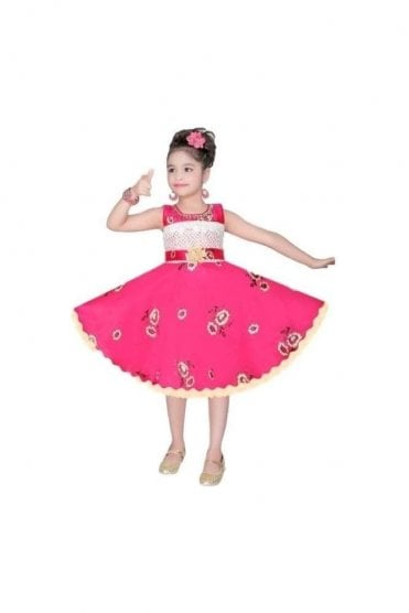 GPF20514 Floral Pink and Gold Girl's Party Dress