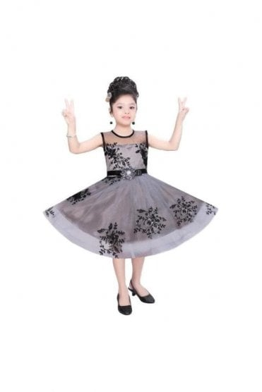 GPF20515 Floral Grey and Black Girl's Party Dress