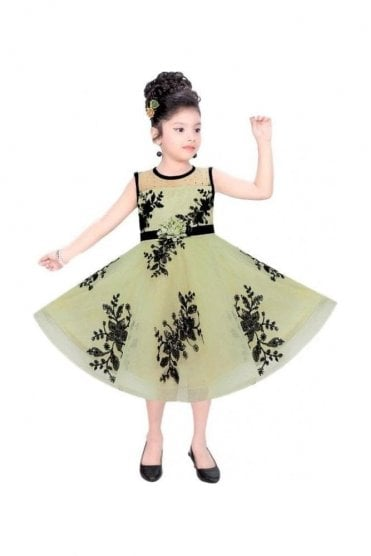 GPF20516 Floral Green and Black Girl's Party Dress