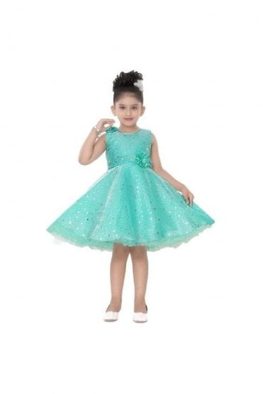 GPF20502 Popular Green and Siliver Girl's Party Dress