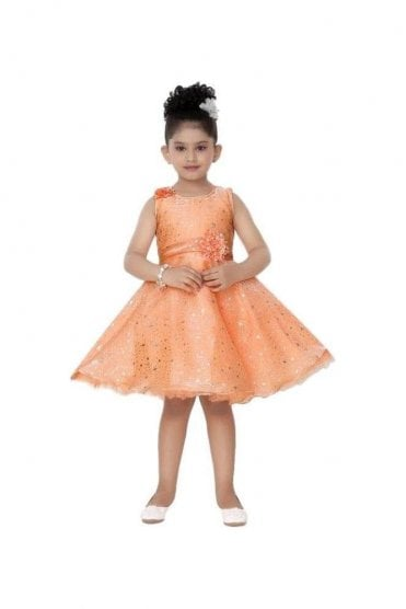 GPF20503 Classic Peach and Siliver Girl's Party Dress