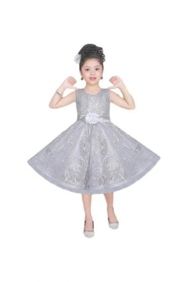 GPF20520 Classic Grey and Siliver Girl's Party Dress